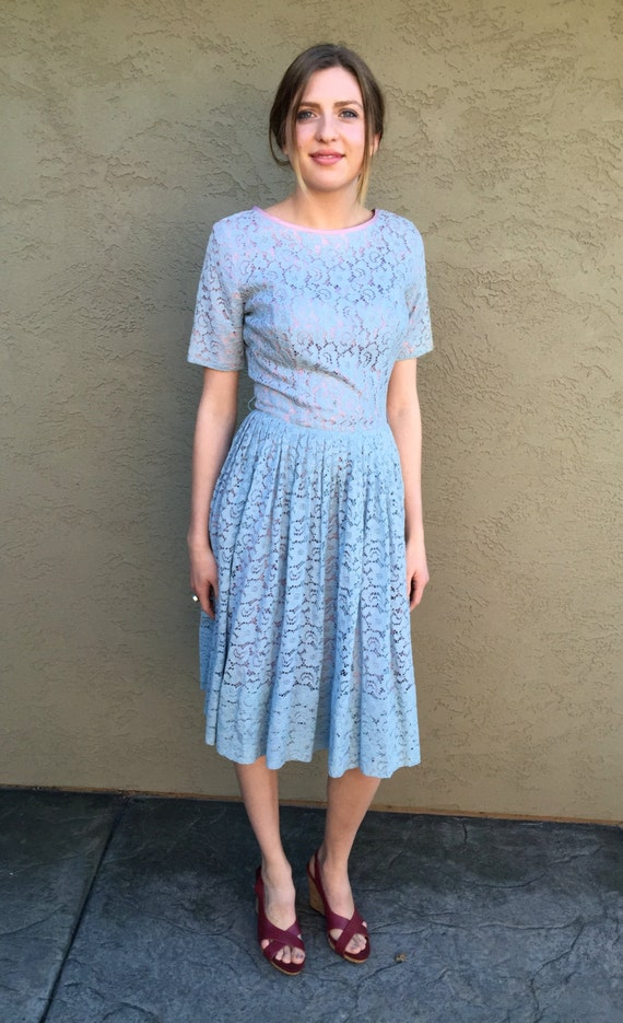 Vintage Summer Short Dress Gathered Dress Dress Skirt Full Blue S Soft Day Market Sleeve XS dfwXxf