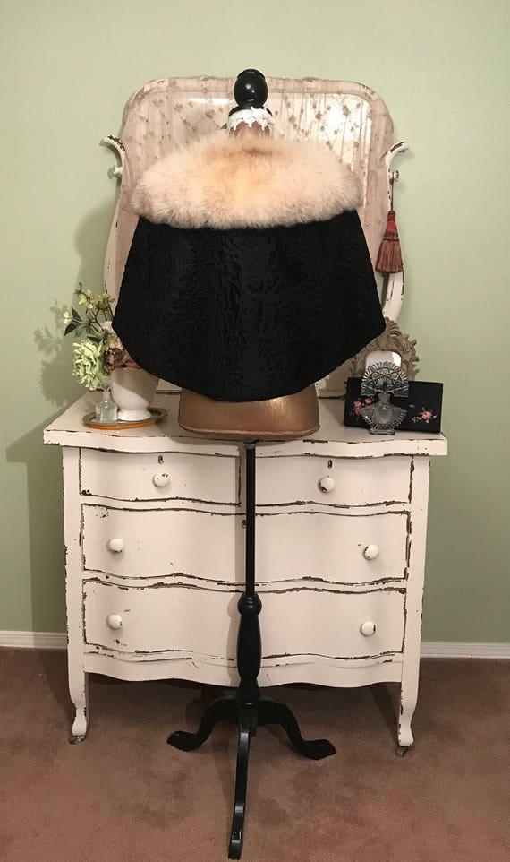 Black Fur Fur One Wrap 40s 30s Lamb Wrap Shawl Silver Persian Generous Size Wrap Full Fur Glamorous Vintage Fox Vintage UIvavt