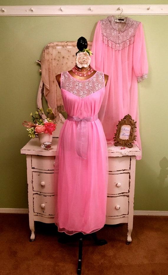 18cb5d199e Long Pink Chiffon Nightie   Robe Women s Lingerie MS-M