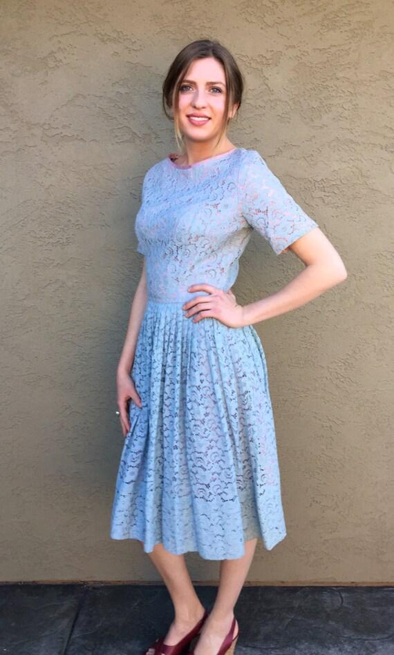 Summer Dress Dress Gathered Blue Soft Day S XS Sleeve Vintage Short Market Skirt Full Dress r4wqT6Br