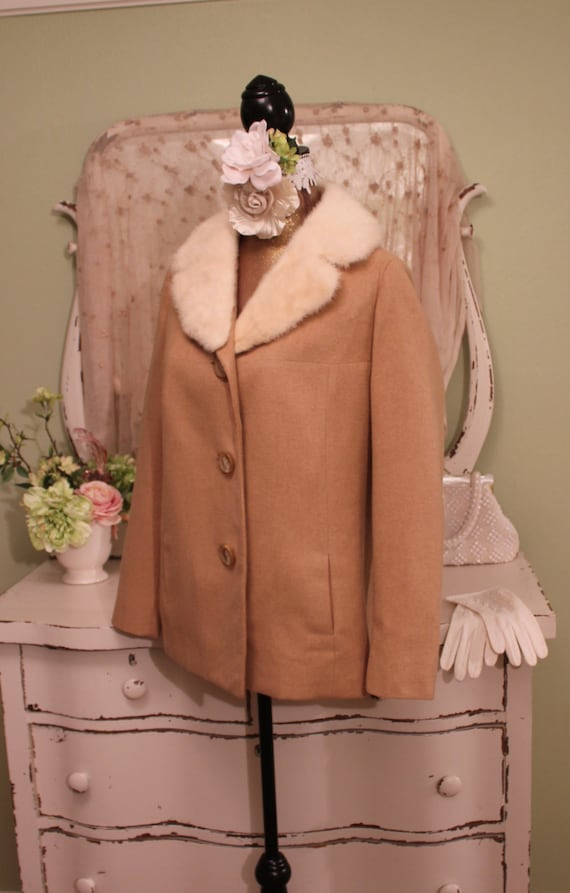 Beige M Fur Short LM Fall Jacket Jacket w Camel Vintage Genuine Coat Collar Winter rqgrYC