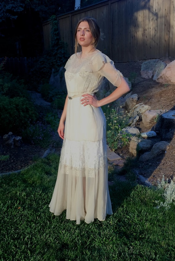 1920s Art Deco Gown Long Antique Wedding Gown MS-M Light Taupe | Etsy