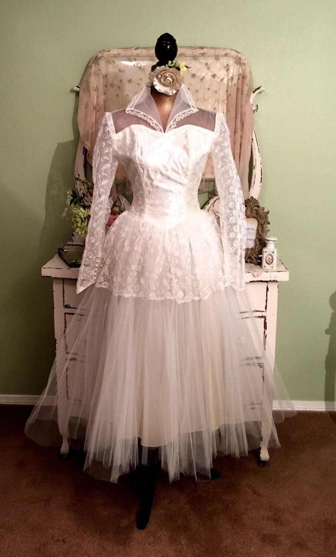 50s Wedding Dress, Long Sleeve, Ballerina Tulle Gown, Princess Wedding Dress, Vintage Wedding Dress, Retro Wedding Dress, Womens XXS