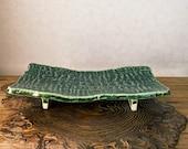 """美濃焼 Minoyaki, Japanese Ceramic Saucer with leg,  Size 9.84"""" x 4.72"""" x 1.57"""" height, beautiful green grazed with jomon monyou design."""