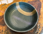 """Japanese Ceramic Saucer, Wafu, thick black base with earthy brown brush paint. Size 6.5"""" diameter x 2"""" (H)"""