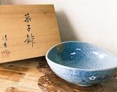 """有田焼 Japanese Ceramic Saucer, """"Seishu, 清秀"""", Moon party rabbit design, Size: 9"""" x 7.7"""" x 3.5""""(H), comes with wooden protected box."""