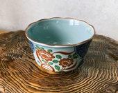 "Japanese Arita ""有田焼"" Porcelain ""Shuho, 秀峰"" Retro Showa design, good for saucer, small to medium Kokedama, Size 4.3"" diameter 2.6"" height"