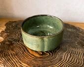 "Japanese Ceramic Saucer, Wafu, Miscanthus sinensis (Susuki), sage like color with brown dot, Size 4.52"" diameter x 2.16"" (H)"