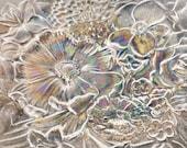 "Hoya Crystal Saucer made in Japan 6.89"" diameter.  Etched Flower Plate."