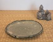 "Japanese Ceramic Saucer hand made, Wafu, grayish blue green, glazed, Antique.  Size 7"" x  5"" x 0.5""(H)"