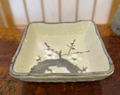 """Japanese porcelain plum tree drawing, white base, brush paint with gray and white for plum. 6"""" square 1.5"""" height"""