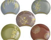 "DEUXMERCI, Ceramic Saucer, shape of an ellipse, Quarter Moon, Oval.  Seasonal plants design.  5.5"" x 4.3"" x 0.6"""