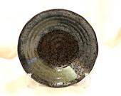 "Round black grazed and paint design bawl 7"" diameter x 1.5"" height for Small to Medium Kokedama"