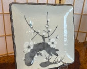 Large Japanese porcelain plum tree drawing, white base, brush paint with gray and white for plum.