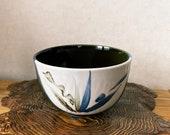 """Japanese Grazed green/blue Ceramic Bowl for Medium Kokedama. 5.7"""" diameter, 3.5 inch height."""