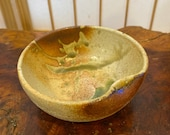 信楽焼Shigaraki ware 荒土Arado 小鉢Kobachi Japanese Ceramic bowl, Wafu, rustic style, white to soil brown gradation with green yuyaku crack.