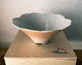 "J-mode Wa no Bi Ceramic Bowl for Medium Kokedama. ""Fuji sakura"" Mt. Fuji with cherry blossom design.  6.3"" diameter, 2.75 inch height."