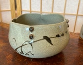 """Japanese Ceramic bowl, brush paint Susuki, Wafu, earthy grey color base with black-brown paint.  Size 5"""" x 5"""" x 3.25"""" (H)"""