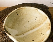 Japanese Ceramic Saucer, Wafu, rustic, simple design beige, cream color with brown burning spots