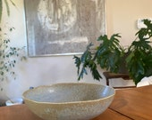 "Oval ceramic wafu-Japanese style medium saucer, 8"" x 7"" x 2"" deep"