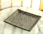 Square black grazed saucer for Small to Medium Kokedama
