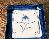 "Japanese pansy-sumire flower designed, indigo blue grazed for Small to Medium Kokedama 4.5"" square 0.5"" height"