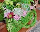 Succulents Moss deco purse - Fresh Green Moss Basket! Mindfulness house decor!