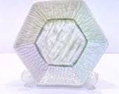 "Light green hexagon shaped ceramic Saucers for Medium to large Kokedama. 7.25"",  1.5"" deep."