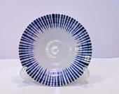 """Stripe aizome, indigo blue,  wafu design saucer 6.25"""" x 1"""""""