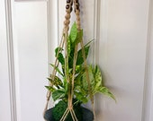 Jute Rope with Beads Macrame Plant Hanger - Great for Indoor & Outdoor Use for Kokedama decoration
