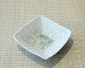 "Square grazed light green color with beautiful crack design ceramic saucers for Medium Kokedama. 7"" x 7"" x 2"""