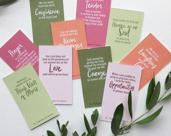 St. Thérèse of Lisieux - 50 Quote Cards | PDF printable Catholic Christian prayer cards, encouragement cards, fridge notes