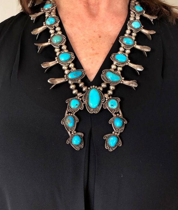 Turquoise Squash Blossom Necklace Native American