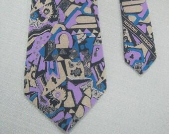 Vintage 80s 90s MISSONI all SILK Patterened TIE Necktie Designer Menswear