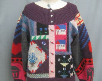 Vintage 80s Kitschy UGLY SWEATER  Handknit all Wool Oversized  Bust 42""