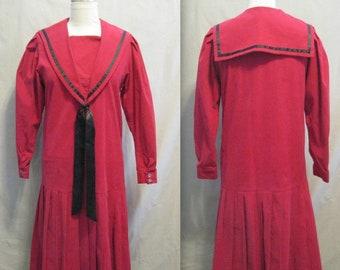 LAURA ASHLEY Vintage 80s RedWhite Striped Sailor Blouse /& Skirt Set UK810 Label 12
