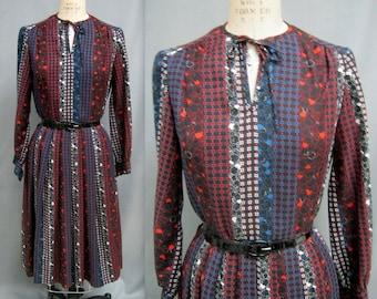 600aa5adf50a Vintage 70s 80s PRAIRIE DRESS PEASANT Style Folkloric Print Challis Medium  bust 38