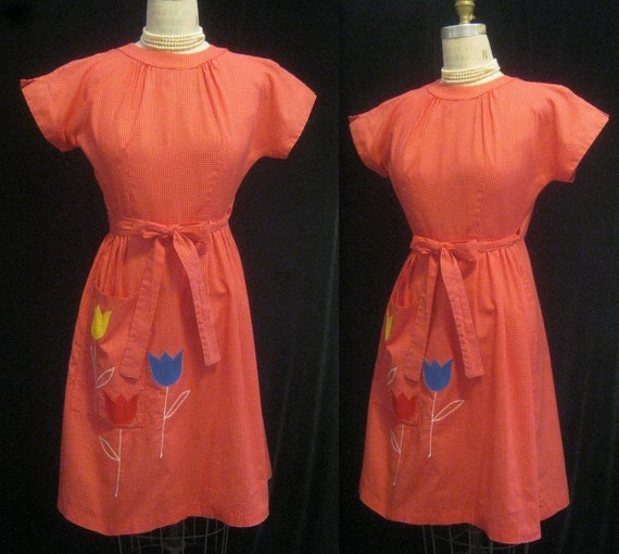 Vintage 50s 60s SWIRL WRAP Apron DRESS Coverall Fi