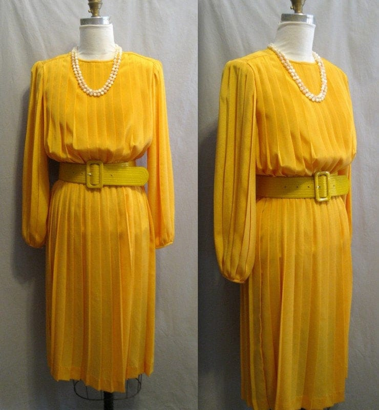 80s Dresses | Casual to Party Dresses Vintage 80S All-Pleated Dress With Balloon Sleeves Bright Yellow Medium Bust 38 $72.00 AT vintagedancer.com