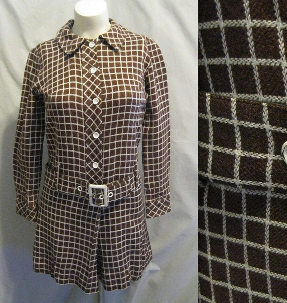 Vintage 60s MOD Era ROMPER Culotte Shirtwaist Dres