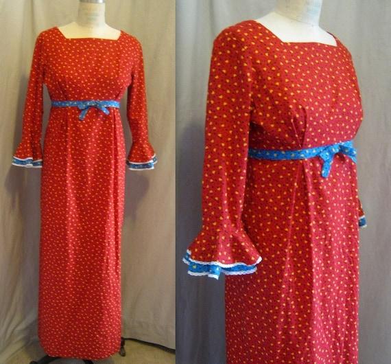 Vintage 60s MOD Empire Maxi DRESS Cotton Calico Pr