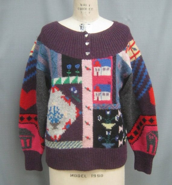 Vintage 80s Kitschy UGLY SWEATER  Handknit all Woo