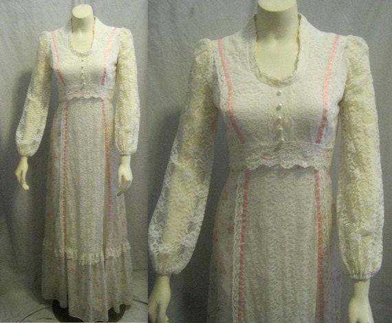 70/'s Edwardian Semi Sheer Lace Dress Edwardian Wedding Dress Vng Gunne Sax Style Wedding Dress