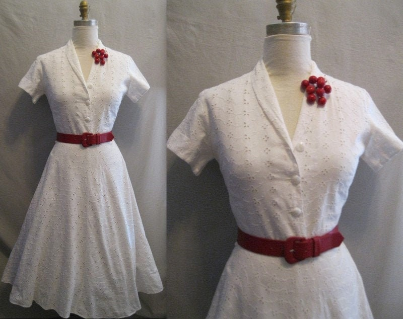 Vintage Scarf Styles -1920s to 1960s Vintage 40S 50S White Cotton Eyelet Dress New Look Era Classic Shirtwaist Summer Party, Wedding, Graduation Bust 34 Small $0.00 AT vintagedancer.com