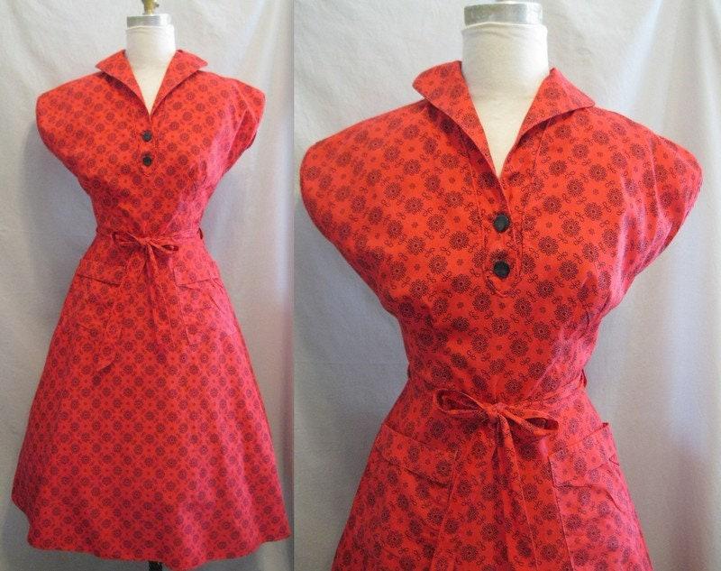 Vintage Aprons, Retro Aprons, Old Fashioned Aprons & Patterns Vintage 50S Red Cotton Wrap Apron Dress Fit  Flare With 2 Pocketsbust 36 $85.00 AT vintagedancer.com