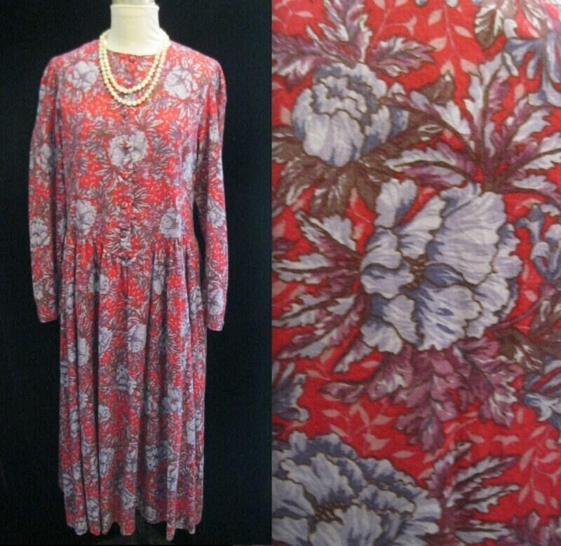 80s Dresses | Casual to Party Dresses Vintage 80s Classic Laura Ashley CottonWool Challis Dress Floral Preppy Romantic Cottagecore Modest Bust 40 $95.00 AT vintagedancer.com
