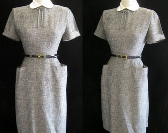 "Sale!! Vintage 50s SHEATH Wiggle DRESS Bombshell Secretay Style with POCKETS Bust:37 """