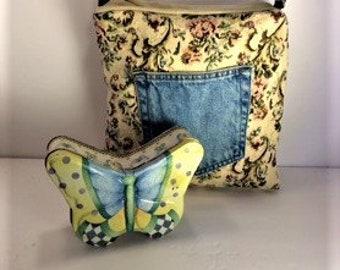 Floral Jeans Pockets Purse