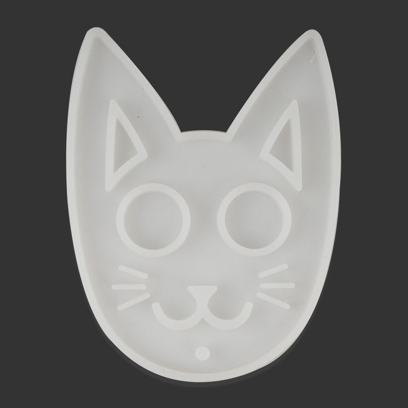 1 Piece Silicone Clear Large Cat Mask Mold Resin Keychain Mold DIY Resin Keychain For Gift 10354250
