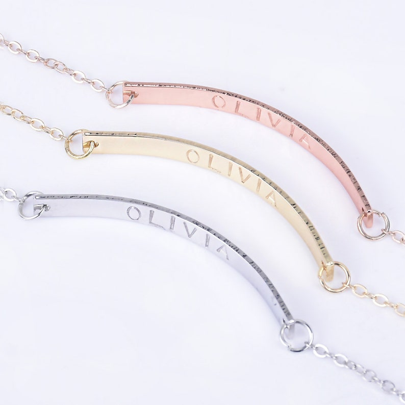 Personalized Necklace For Women Bridesmaid Gift necklace,bending bar,Silver Initial Necklace,Gold Disc Necklace-1046